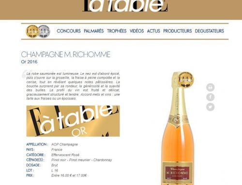 Médaille d'Or 2016 pour le champagne Richomme